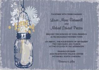 Mason Jar & Wildflowers Wedding Invitation