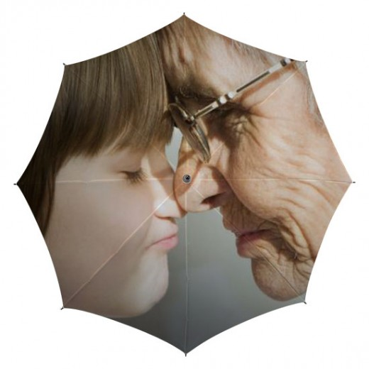 umbrella printed with grandson & grandmother