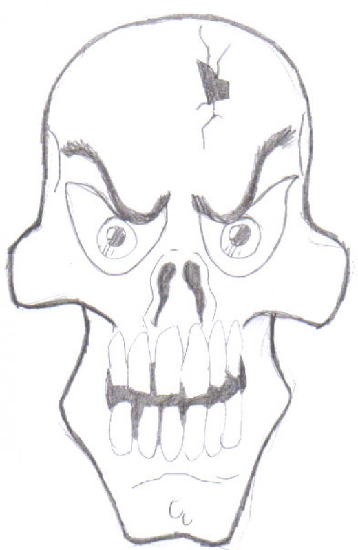 A cartoon skull, not exactly a perfect skull example, but it does show the variations you can draw skulls.