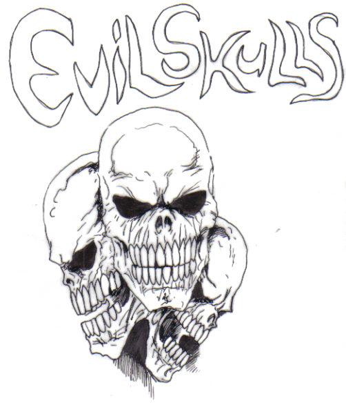 An evil skull design, inked with black roller ball pens.