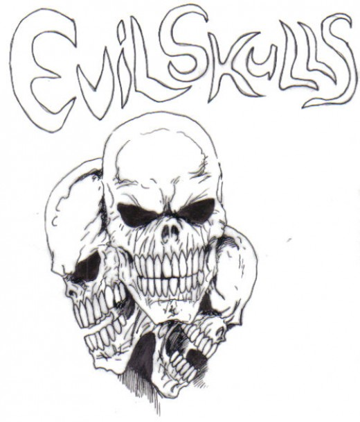 Evil Skull Tattoo Design Frighten Evil Skull Tattoo Design.