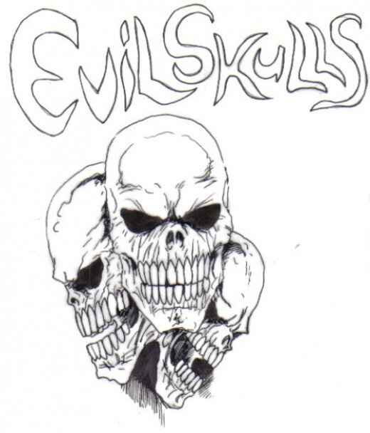 An evil skull design, inked with black roller ball pens.