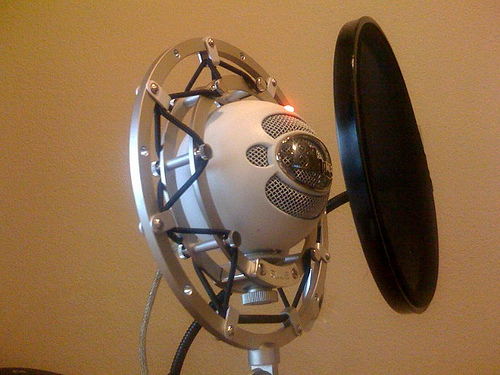 Blue Snowball with pop filter