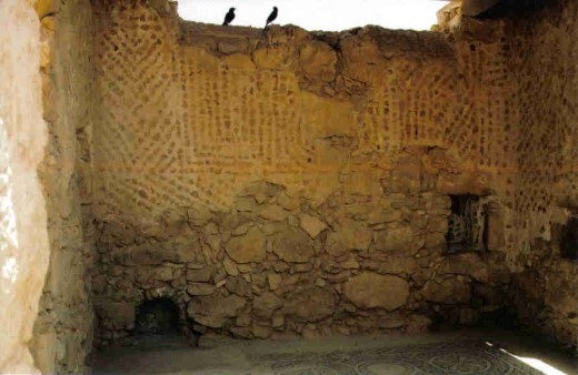 A room displaying idol worship on Masada.  Masada is a strong fortress that was once King Herods palace.
