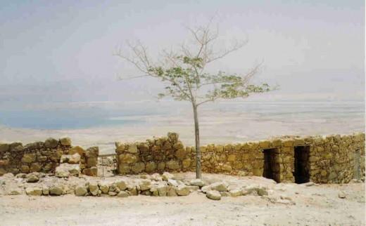 Masada fortress looking towards the Dead Sea and the jordan hills.