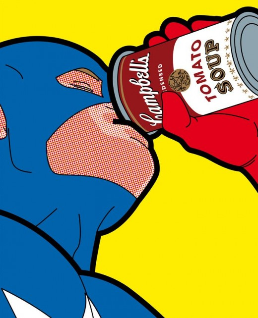Captain America having a soup meal.