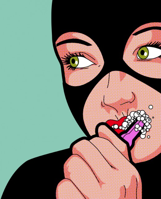 Catwoman brushing her teeth.