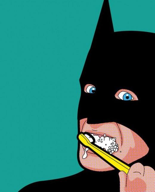 Batman brushing his teeth before taking on Gotham.