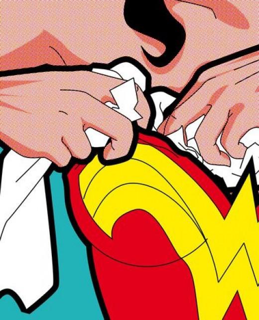 Wonderwoman stuffs her bra before saving the day.