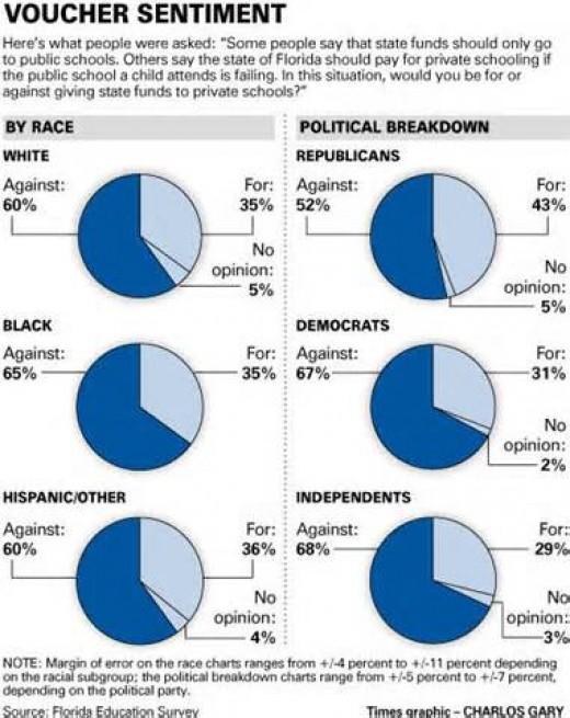Pie Chart showing public sentiment on vouchers in Florida.