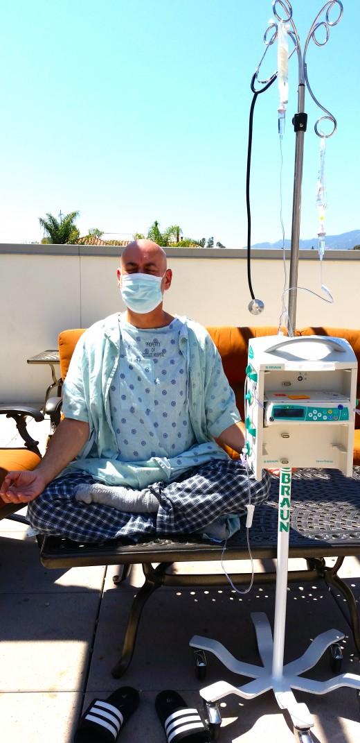 Ahh, sitting meditation in the sunlight under the Santa Barbara sky.