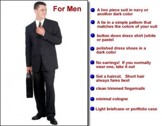 formal dressing for interviews. to a formal job interview: