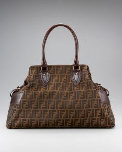 Fendi Brown Bag De Jour Media Zucca Handbag