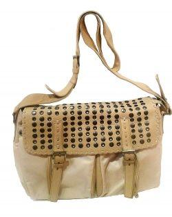 Prada Beige Microfiber Leather Messenger Bag - luxury handbags
