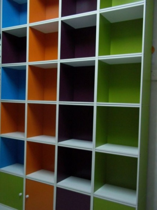 The combined colorful cabinet taken from the bottom