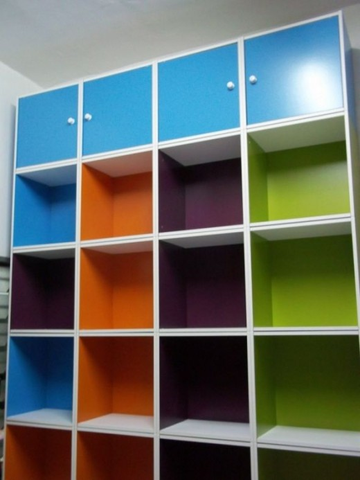 The combined colorful cabinet taken from the top