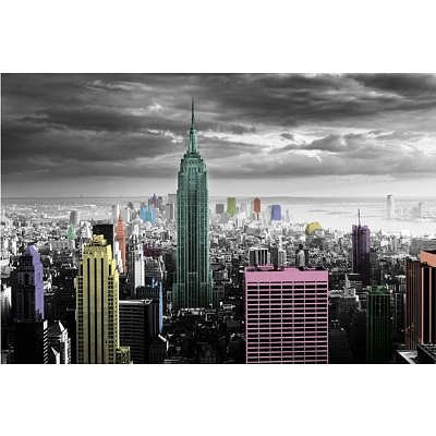 "Black  White with Neon Color Splash 24' x 36"" Standard Size New York City Scene/Skyline Poster"