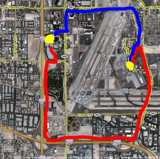 Red line: freeway route to Luxor. Blue line: surface street route to Luxor