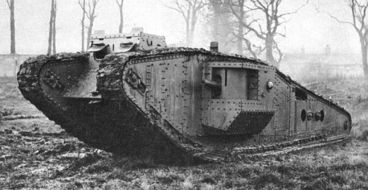 WW1 tank. The design is to aid in crossing over trenches