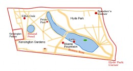 Simple map of Kensington Gardens and Hyde Park