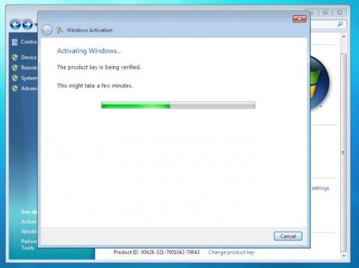 Activating Windows 7
