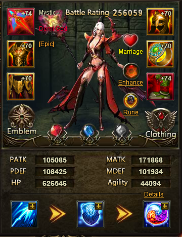 This is my mage character. A level 74 with a 1 million overall battle rating.