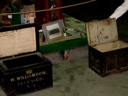 On the left is a Bank strongbox to transport cash.  And on the right is a Gold strongbox.  No wonder there were Bushrangers demanding their victims 'Stand and Deliver'