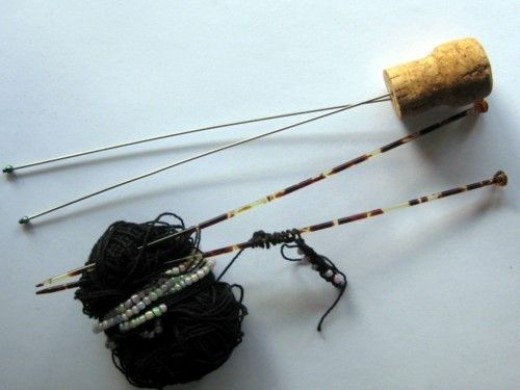These are my finest and my largest bead knitting needles - and a WIP that has only just begun!