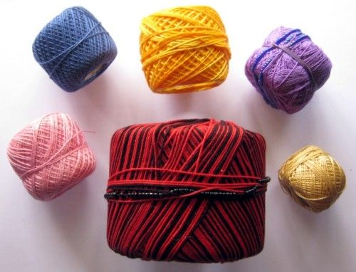 The colour range is truly amazing, now including quite a few 'variegated' yarns in both silky-type and cotton.