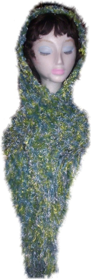 This head or neck scarf was created using Pastel Blue/Green/Yellow 'Feathers' yarn, and is 30cm wide x 210 cm total length, including Pastel/Silver beads and 20cm fringing each end. (Code 2e)