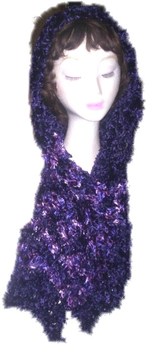 Head or neck scarf created using Deep Purple 'Feathers' yarn, and is 20cm wide x 185 cm total length including mixed Purple/Lavender stripes towards each end.  (Code 2b)