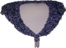 """Another triangular shawl handknitted using Silver Grey 'Feathers' yarn, up to 90cm (35"""") maximum width around shoulders x 25cm (10"""") maximum depth at back point, and has a pearly plastic clasp and 5 iridescent & pearly beaded drops hanging from e"""