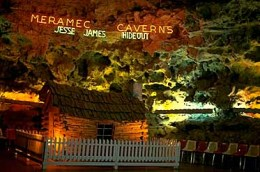A rendition of a the type of cabin that Jesse James would have stayed in, inside of the cavern