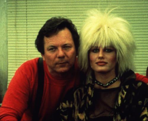 Makeup artist Marvin Westmore with Darryl Hannah as Pris.