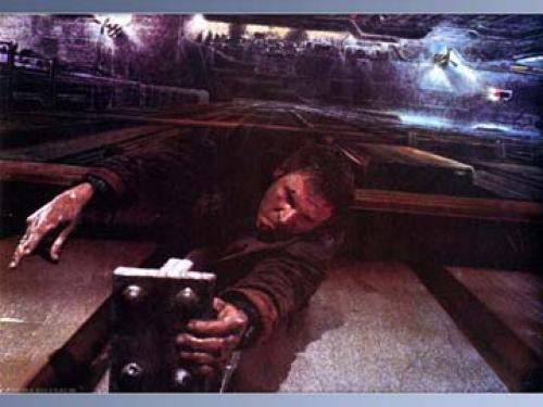 Deckard holding on for his life.
