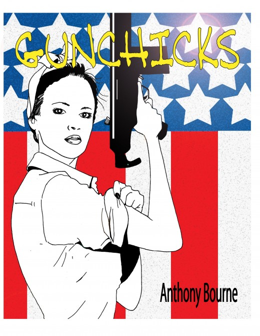 Cover art from my book Gunchicks; an old school pin up book of hot women with guns.