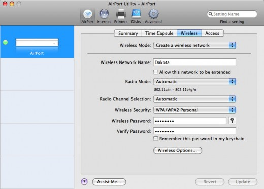 Wireless settings on Apple's AirPort Extreme and Time Capsule