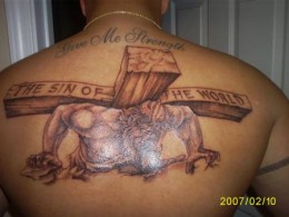 Tribal Cross Back Tattoo