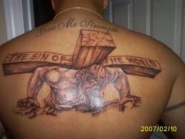 Upper Back Cross Tattoo