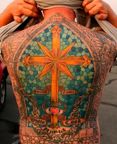 Extreme Full Back Cross Tattoo