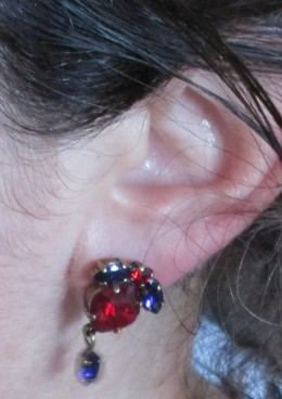 Stephie's earrings to brighten the look of my hospital gown attire.