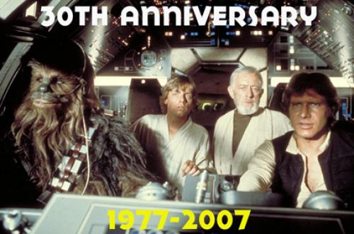 Star Wars classic scene (from left to right - like these guys really need intro's) Chewbacca, Luke Skywalker, Obi Wan Kenobi, Han Solo in the cockpit of the Millennium Falcon.