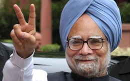 V for vitctory: UPA is in power again and incumbent Prime Minister Manmohan Singh to continue as Indian premier
