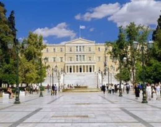 modern day athens - Syntagma square with Greek Parliament
