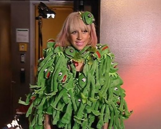 Lady Gaga wearing her Kermit coat