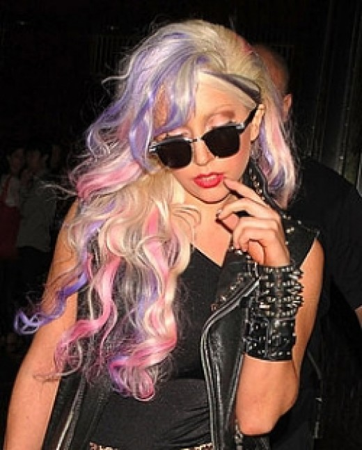 lady gaga's wig - blonde purple wig