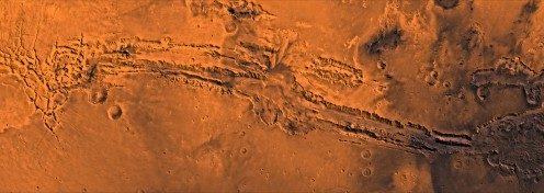 Long shot of the canyon on Mars.