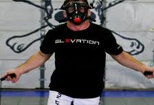Sean Sherk wearing the elevation mask for hypoxic training