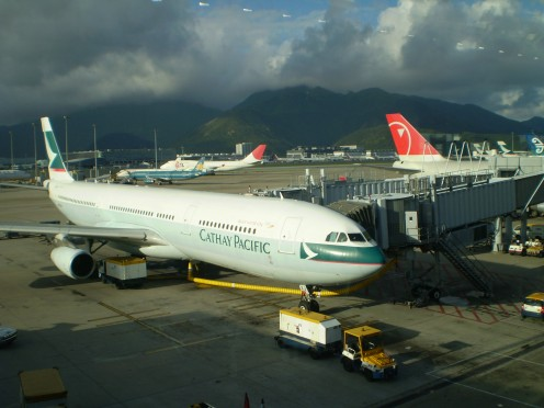 The HK Airport.  By the way, those bright spots in background are not UFOs but a relfection from the glass.