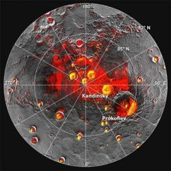 Ice on Mercury? Shown in red are areas of Mercuryâs north polar region that are in shadow in all images acquired by MESSENGER to date. Image coverage, and mapping of shadows, is incomplete near the pole. The polar deposits imaged by Earth-based radar